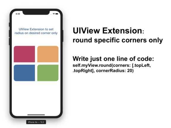 UIView rounded specific corners only, uiview rounded corners bottom only, uiview rounded corners top only