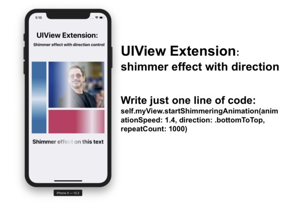 UIView shimmer effect with direction Swift 5